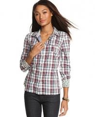 Tommy Hilfiger Long-Sleeve Plaid-Print Shirt - Tops - Women - Macys at Macys