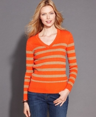 Tommy Hilfiger Long-Sleeve Striped V-Neck Cable-Knit Sweater in orange at Macys