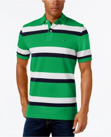 Tommy Hilfiger Men s Ace Striped Polo in green x at Macys