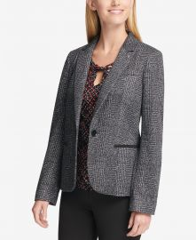 Tommy Hilfiger One-Button Elbow-Patch Blazer at Macys