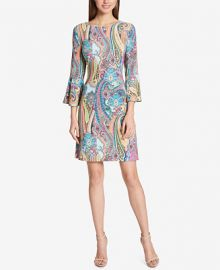 Tommy Hilfiger Paisley Bell-Sleeve Dress   Reviews - Dresses - Women - Macy s at Macys