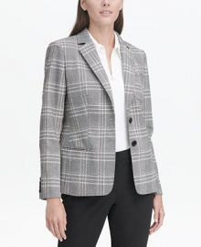 Tommy Hilfiger Plaid Elbow-Patch Blazer   Reviews - Jackets   Blazers - Women - Macy s at Macys