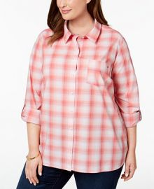 Tommy Hilfiger Plus Size Cotton Plaid Tab-Sleeve Shirt  Created for Macy s Plus Sizes -  Tops - Macy s at Macys