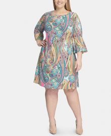 Tommy Hilfiger Plus Size Jaipur-Paisley Bell-Sleeve Dress   Reviews - Dresses - Plus Sizes - Macy s at Macys