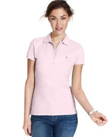 Tommy Hilfiger Short-Sleeve Polo Top in New Ballerina Pink at Macys