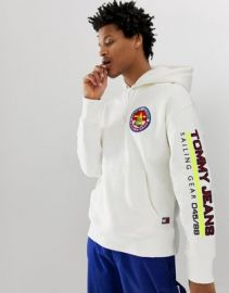 Tommy Jeans 90s Sailing Capsule back and sleeve logo hoodie in white   ASOS at Asos