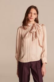 Tonal Stripe Tie Neck Silk Blouse at Rebecca Taylor