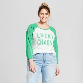 Top: St. Patrick\'s Day Lucky Charm Short Sleeve Raglan Graphic T-Shirt by Target at Target