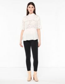 Top With High Collar And Lace Inset at Sandro