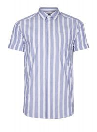 Topman Blue and White Striped Smart Shirt  at Topman