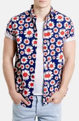 Topman Classic Fit Daisy Print Short Sleeve Shirt at Nordstrom