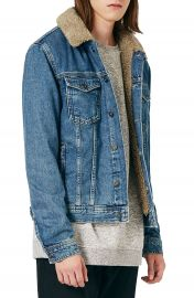 Topman Denim Jacket with Faux Shearling Collar at Nordstrom
