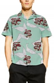 Topman Dragon Print Short Sleeve Button-Up Shirt   Nordstrom at Nordstrom