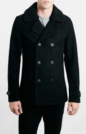 Topman Peacoat with Removable Faux Fur Collar at Nordstrom