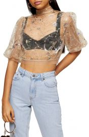 Topshop Mystical Sequin  amp  Embroidered Mesh Crop Top   Nordstrom at Nordstrom