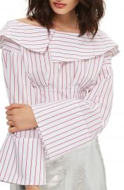 Topshop Stripe Poplin Off the Shoulder Corset Top at Nordstrom
