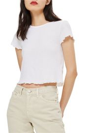 Topshop Waffle Short Sleeve T-Shirt in White at Nordstrom