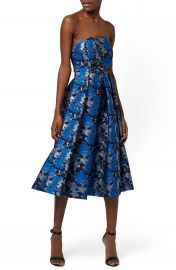 Topshop  Shadow Jacquard  Strapless Midi Dress at Nordstrom