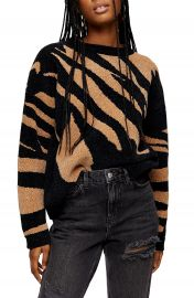 Topshop Abstract Stripe Chenille Sweater   Nordstrom at Nordstrom