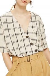 Topshop Ashley Check Asymmetrical Top at Nordstrom