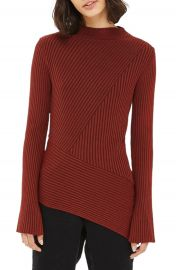 Topshop Asymmetrical Ribbed Sweater at Nordstrom