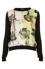 Topshop Bloomskate Woven Front Sweater in black at Nordstrom