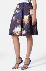 Topshop Blur Rose Print Midi Skirt at Nordstrom
