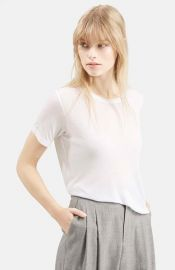 Topshop Boutique Rib Trim Tee in White at Nordstrom