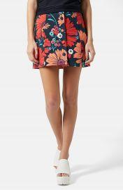 Topshop Button Front Floral Skirt at Nordstrom