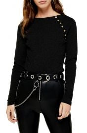 Topshop Button Ribbed Pullover at Nordstrom