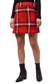 Topshop Check High Rise Skirt at Nordstrom