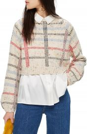 Topshop Check Pattern Sweater  Regular  amp  Petite    Nordstrom at Nordstrom