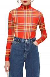 Topshop Check Slinky Funnel Neck Top at Nordstrom
