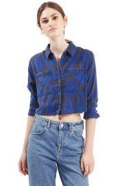 Topshop Chloe Crop Plaid Shirt at Nordstrom