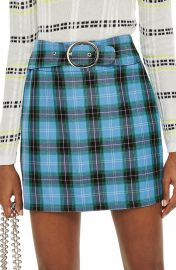 Topshop Circle Buckle Check Miniskirt   Nordstrom at Nordstrom