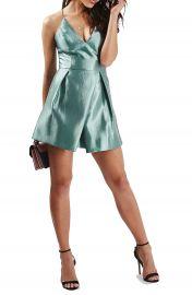 Topshop Crinkled Satin V-Neck Dress  Regular   Petite at Nordstrom