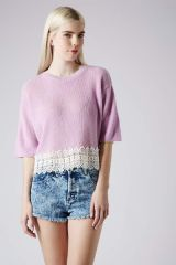 Topshop Crocheted Hem Crop Sweater in lilac at Nordstrom