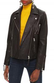 Topshop Dolly Leather Biker Jacket  Regular  amp  Petite    Nordstrom at Nordstrom