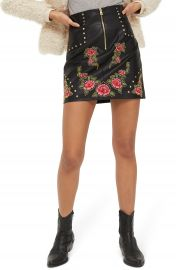 Topshop Embellished Floral Faux Leather Skirt at Nordstrom