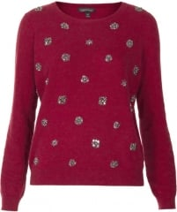 Topshop Embellished Sweater in berry at Nordstrom