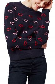 Topshop Embroidered Heart Sweater at Nordstrom