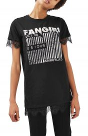 Topshop Fangirl Lace Trim Tee at Nordstrom