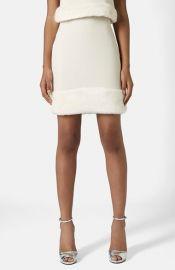 Topshop Faux Fur Hem Miniskirt at Nordstrom