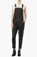 Topshop Faux Leather Overalls at Nordstrom