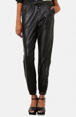 Topshop Faux Leather Track Pants at Nordstrom