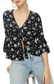 Topshop Felicity Spot Floral Tie Front Blouse at Nordstrom