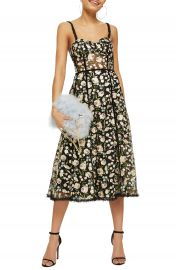 Topshop Floral Corset Midi Dress at Nordstrom