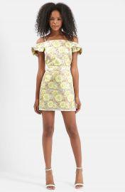 Topshop Floral Frill Bardot Dress at Nordstrom