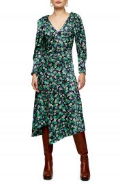 Topshop Floral Print Asymmetrical Long Sleeve Dress   Nordstrom at Nordstrom