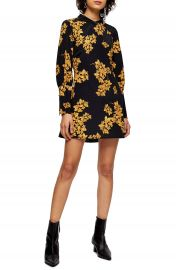 Topshop Floral Print Long Sleeve Minidress   Nordstrom at Nordstrom
